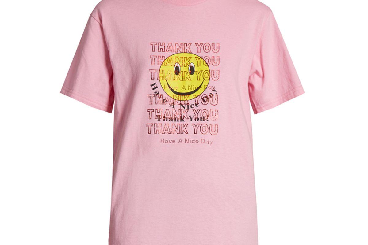 Thank You-Print Short-Sleeved T-shirt