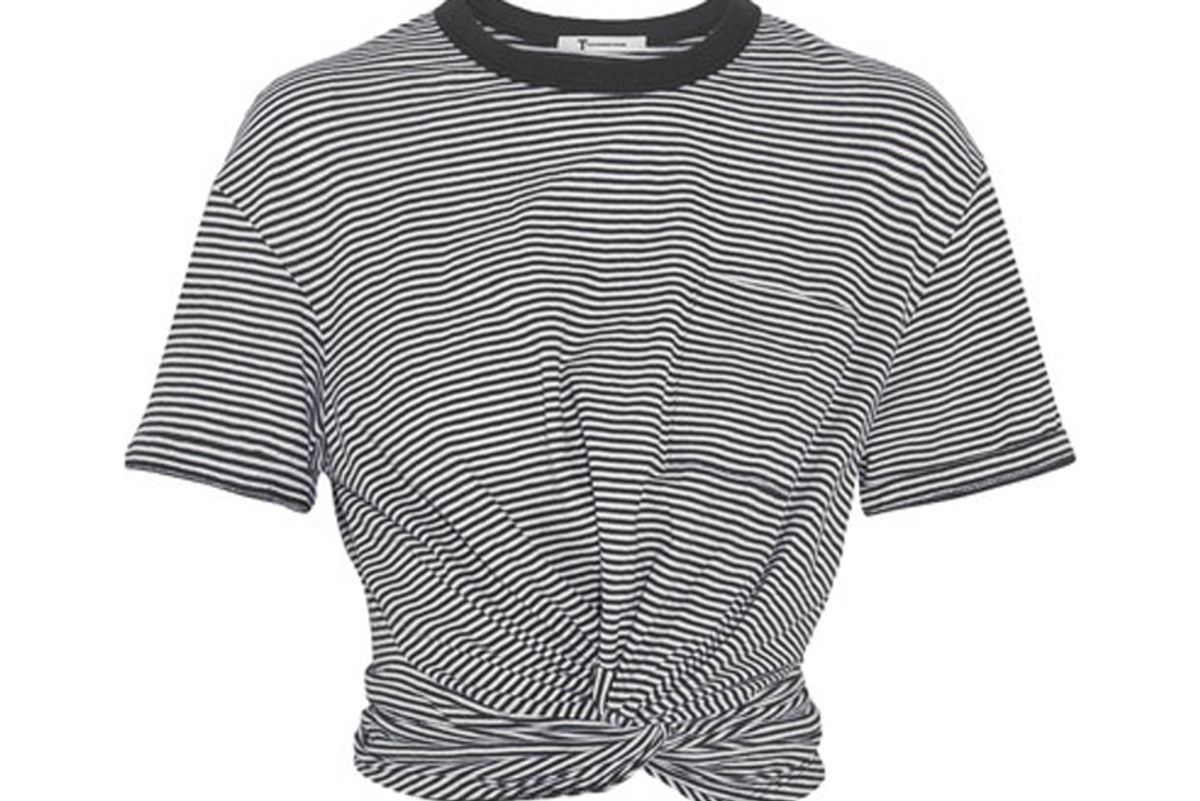 Cropped Twist-Front Striped Cotton-Jersey T-Shirt