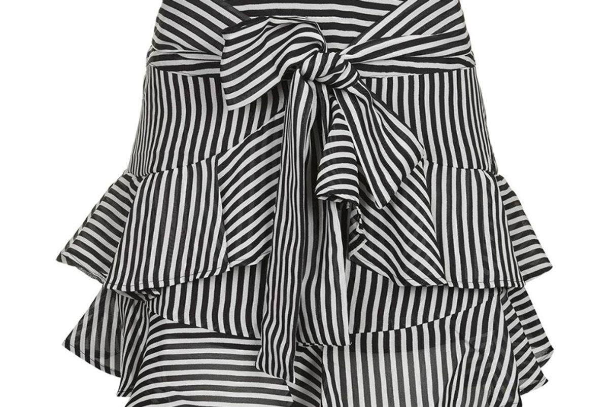 Stripe Ruffle Tie Mini Skirt