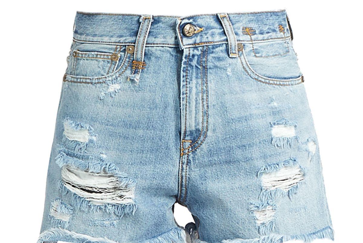Shredded Slouch Denim Shorts