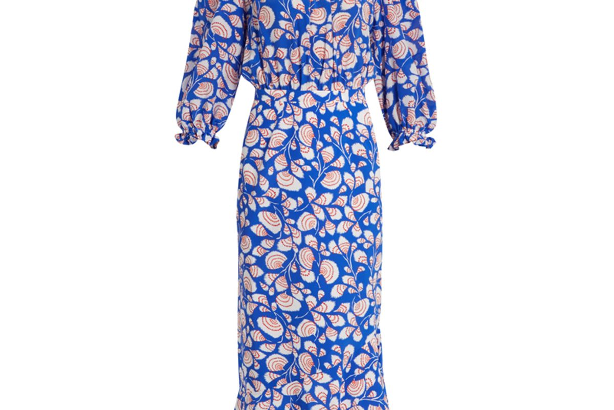 Gracie Off-The-Shoulder Feather-Print Silk Dress
