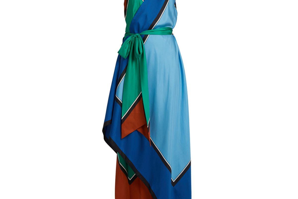 Asymmetric Scarf-Print Silk Dress