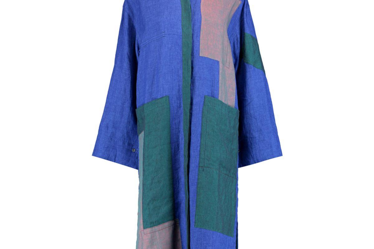 Paneled Linen Midi Dress