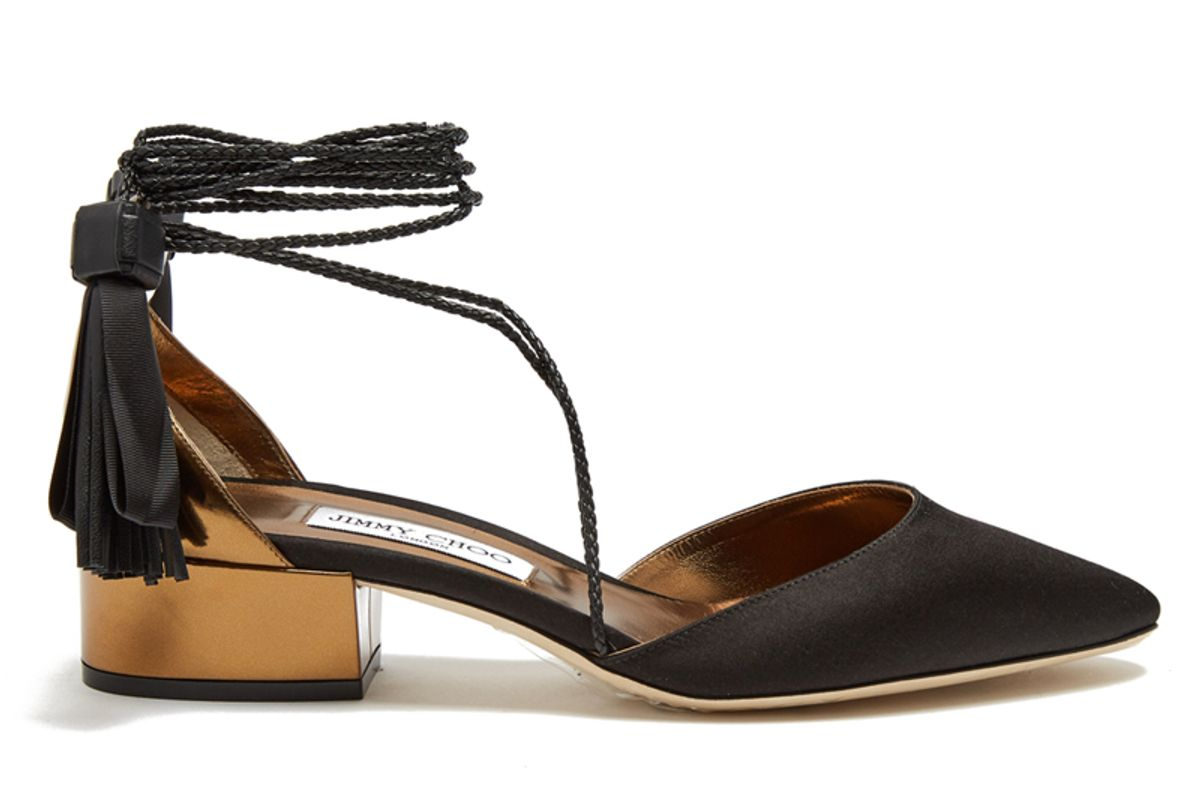 Duchess Satin and Leather Sandals