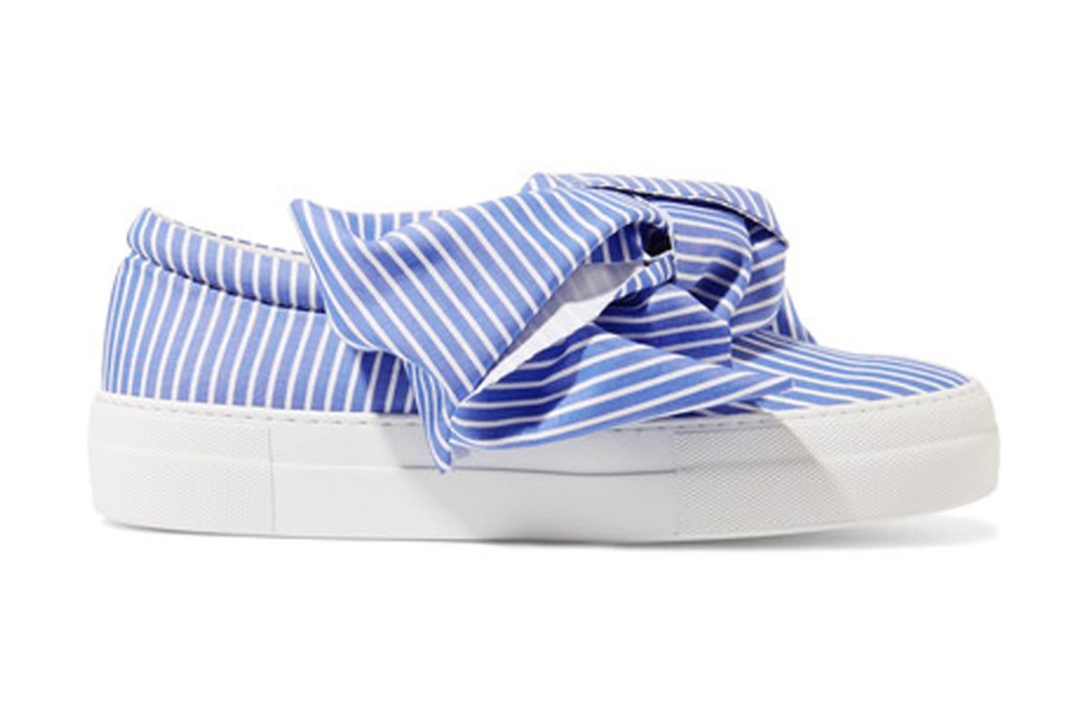 Knotted Striped Cotton-Poplin Slip-On Sneakers