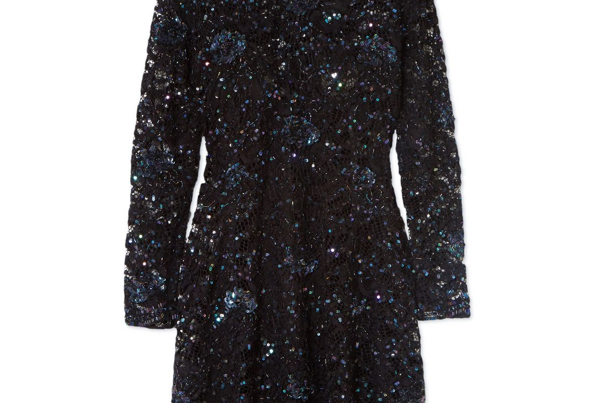 ashish wednesday embellished lace mini dress