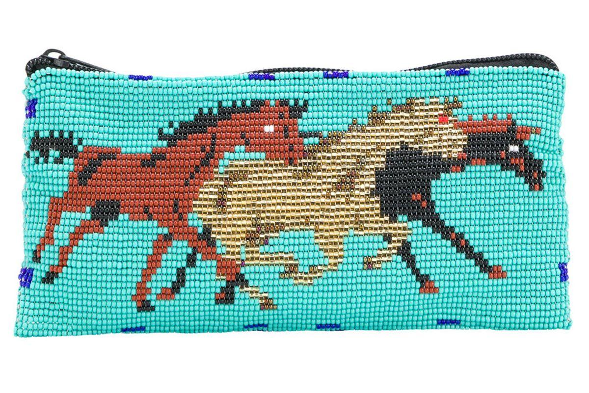jessie western galloping horse beaded purse
