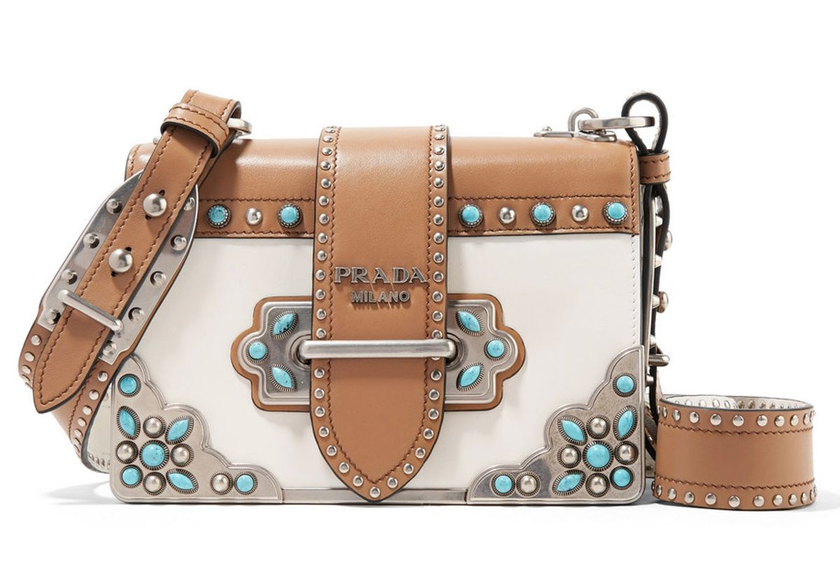prada cahier embellished two-tone leather shoulder bag