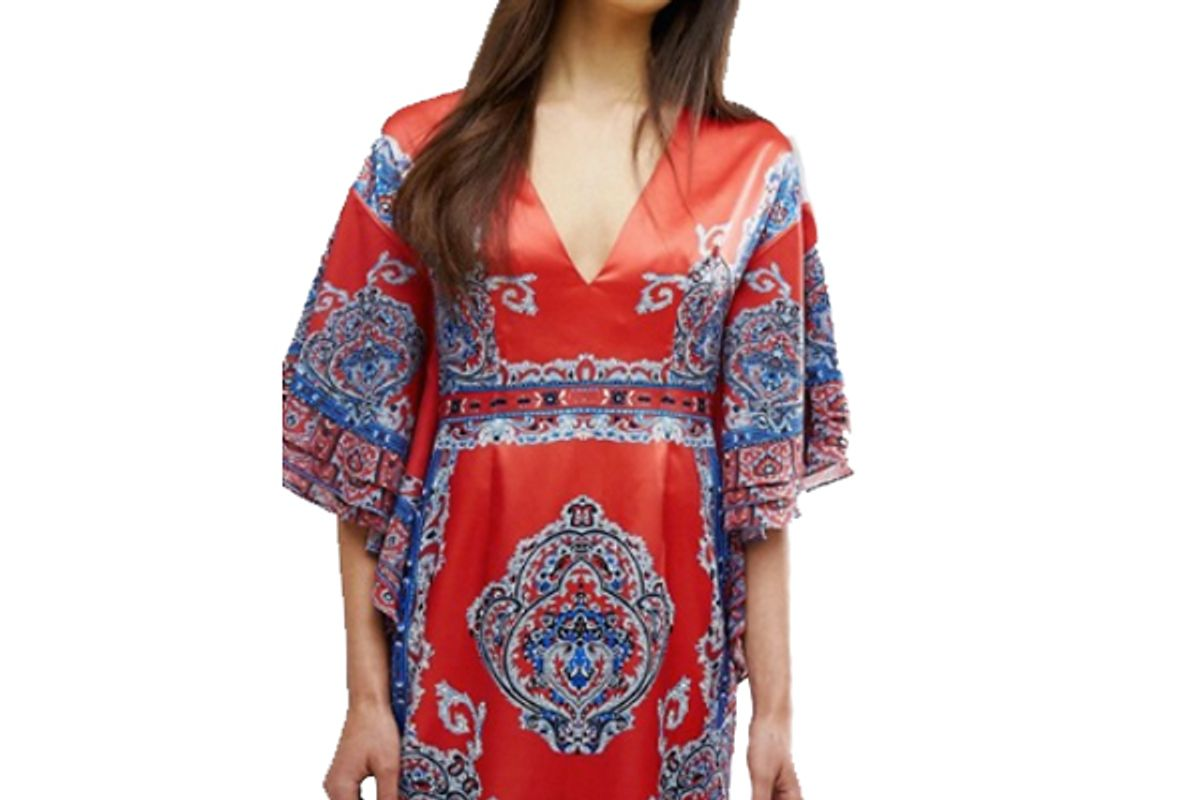 Printed Kimono Dress With Plunge Front