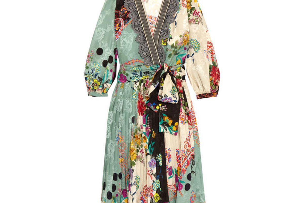 Printed Jacquard Wrap Dress