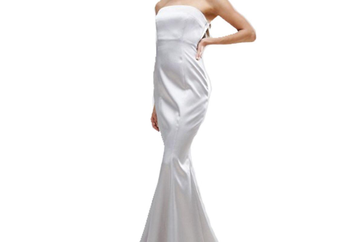 Satin Bandeau Paneled Maxi Dress
