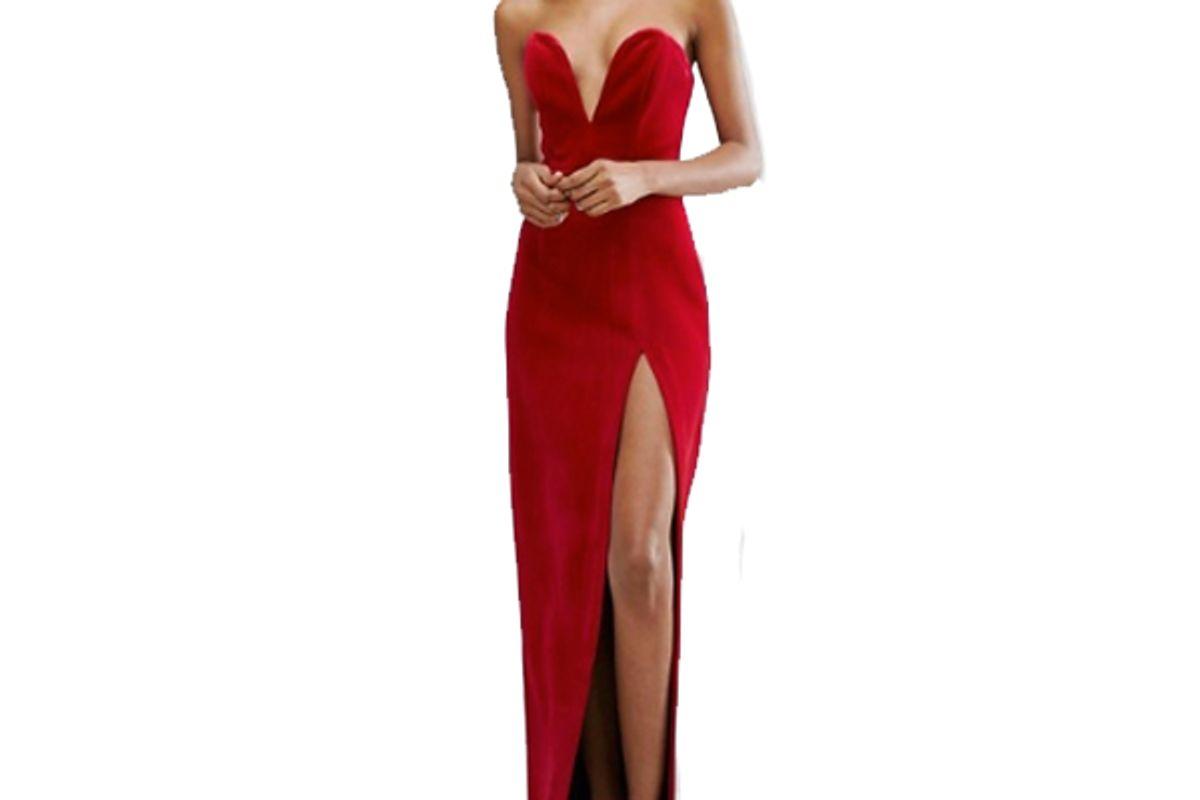Black Bonded Velvet Sweetheart Bandeau Maxi Dress With Thigh Split