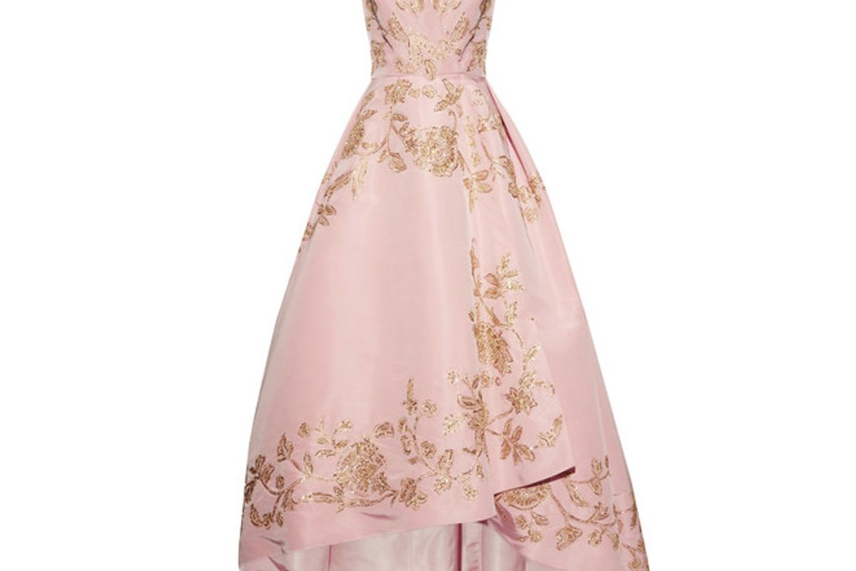 Asymmetric Embellished Silk-faille Gown