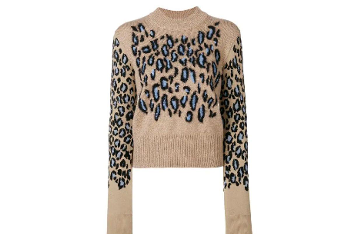 kenzo leopard print knit sweater