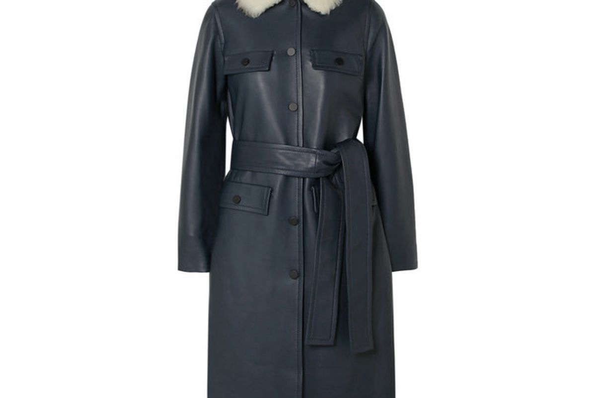 yves salomon belted shearling trimmed leather coat