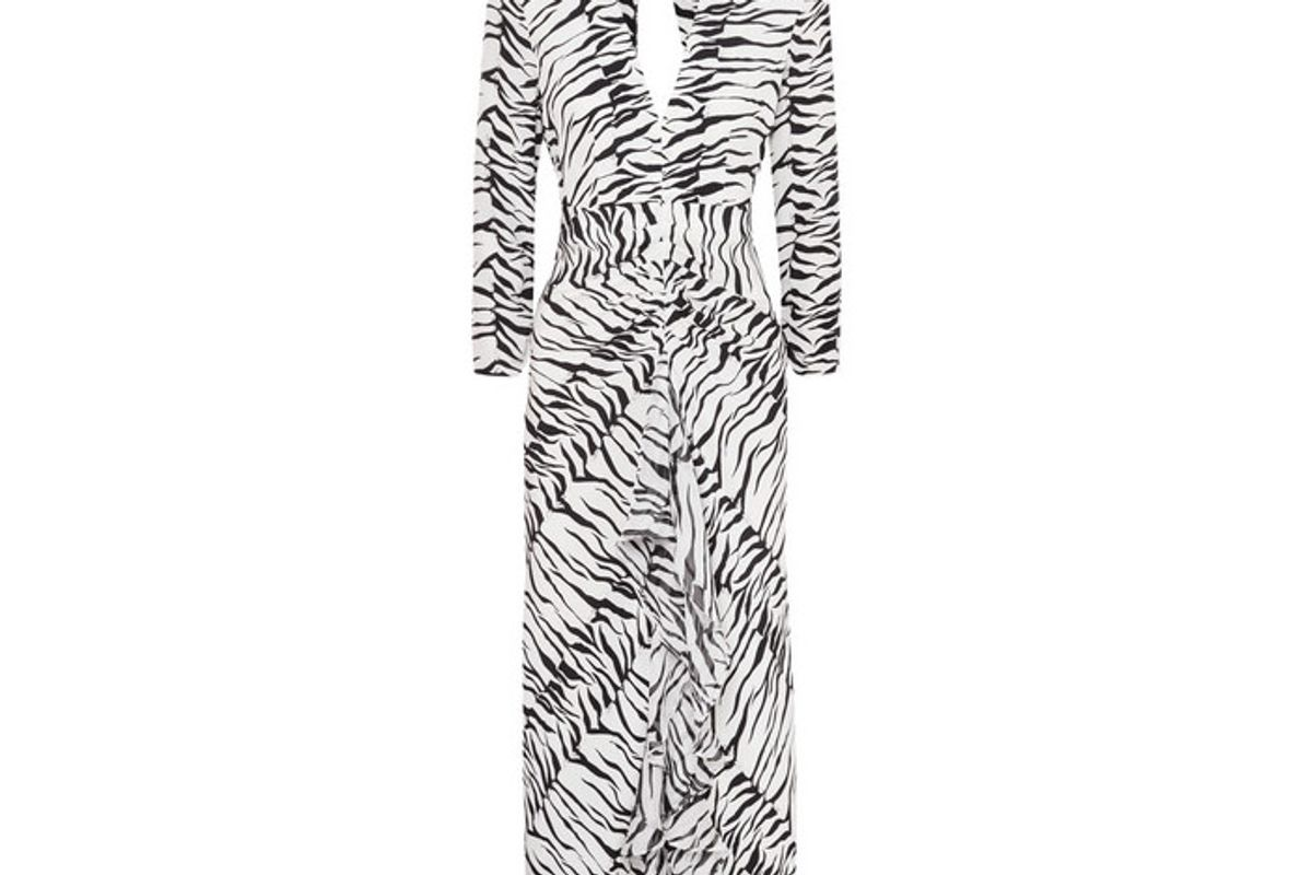 rixo rose open back ruffled animal print silk maxi dress