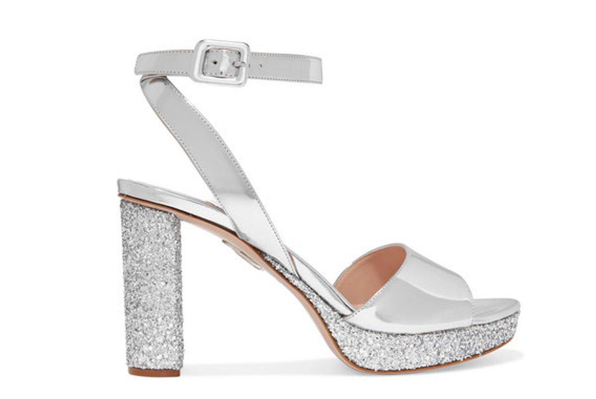 miu miu glittered mirrored leather platform sandals