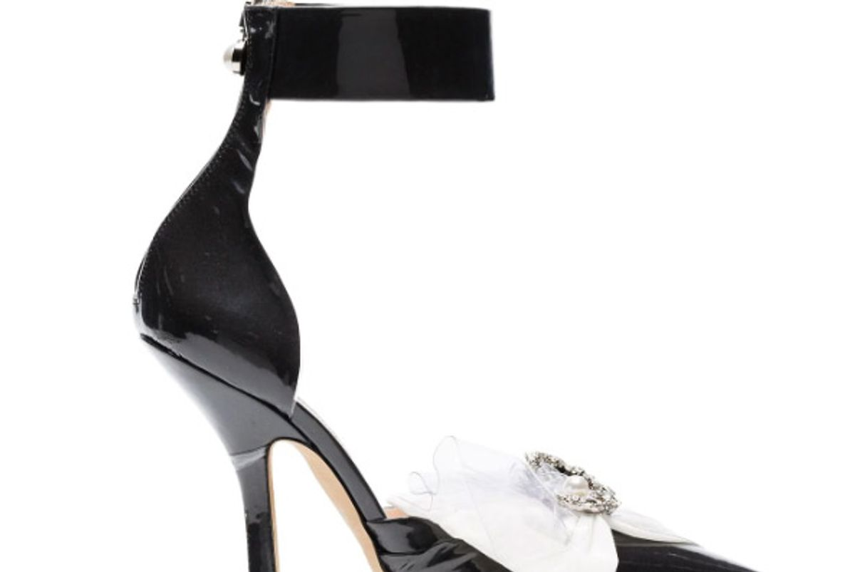 midnight 00 105 brooch bow ankle strap pumps