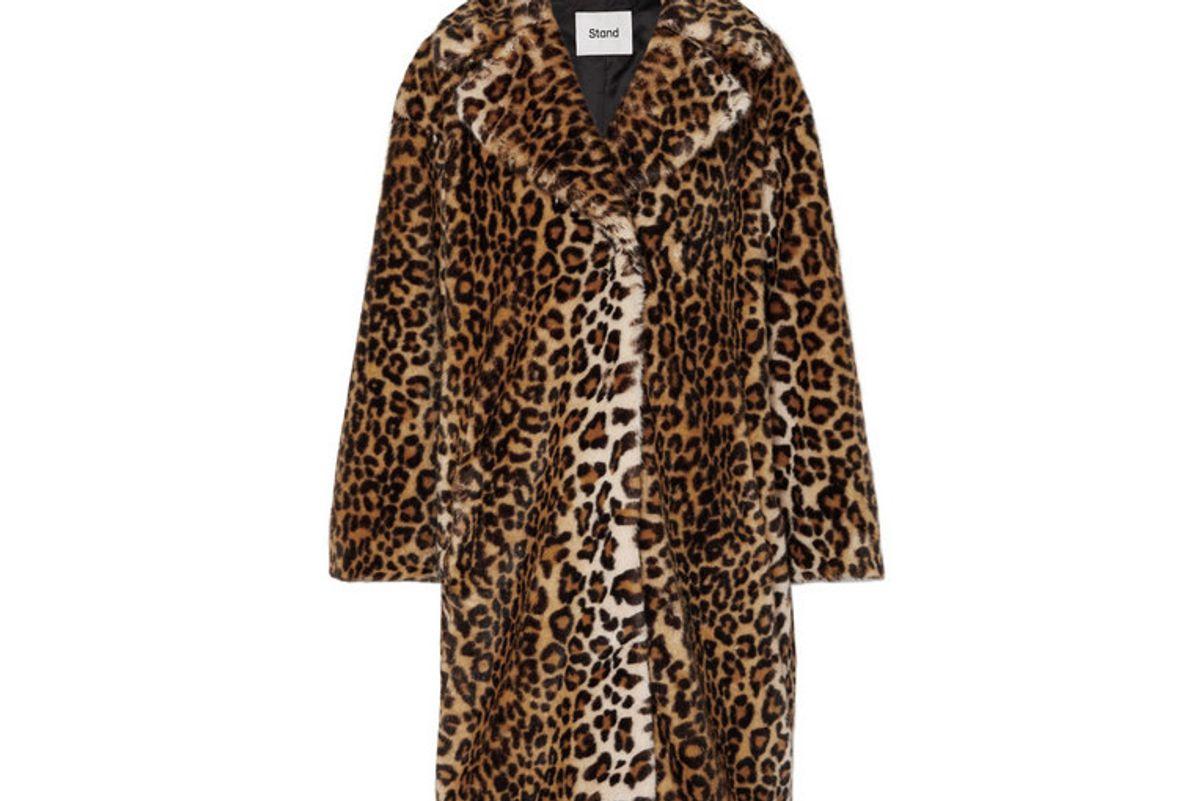 stand camille leopard print faux fur coat