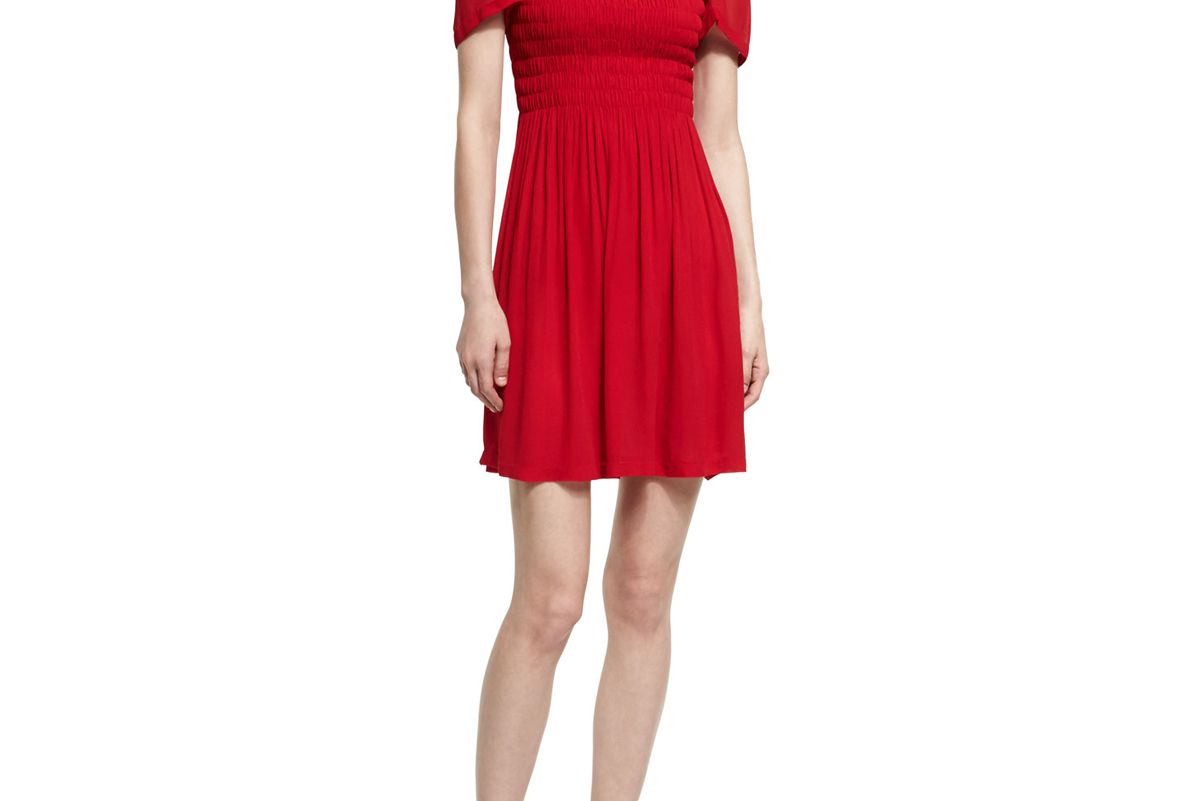 Short-Sleeve Smocked Mini Dress