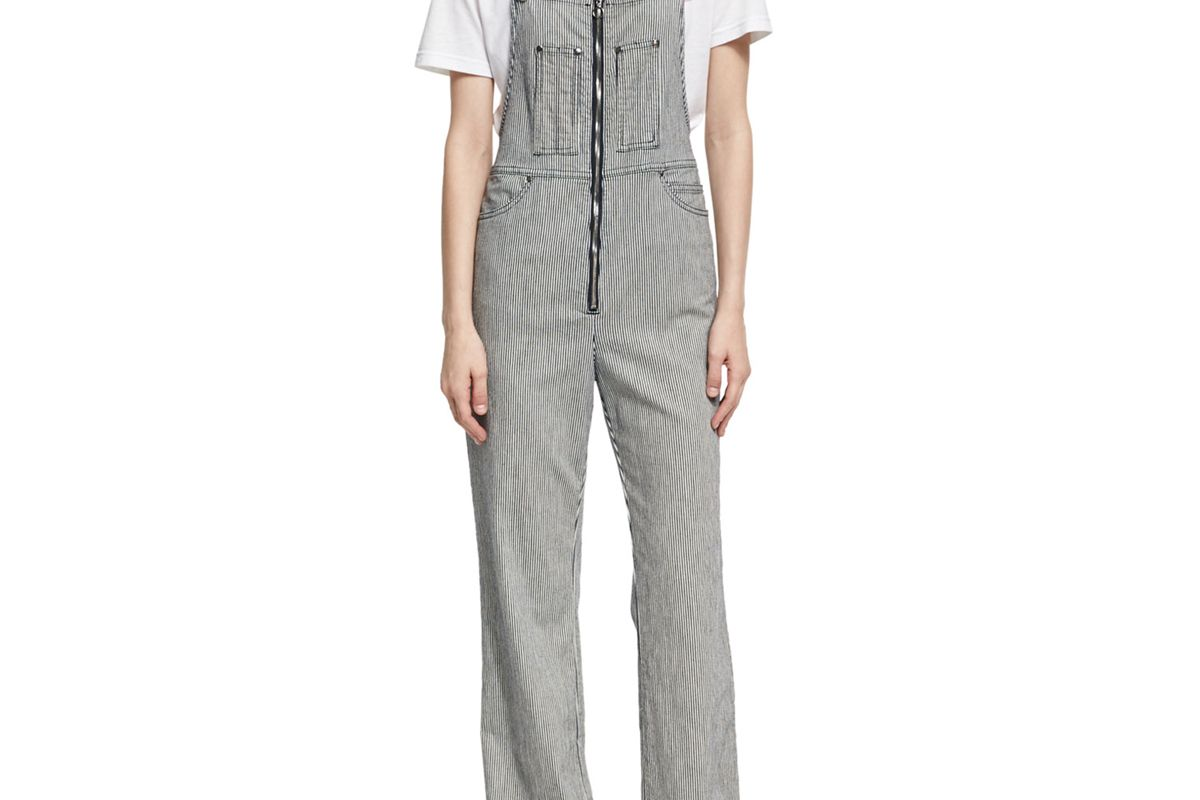 Zip Front Striped Dungarees
