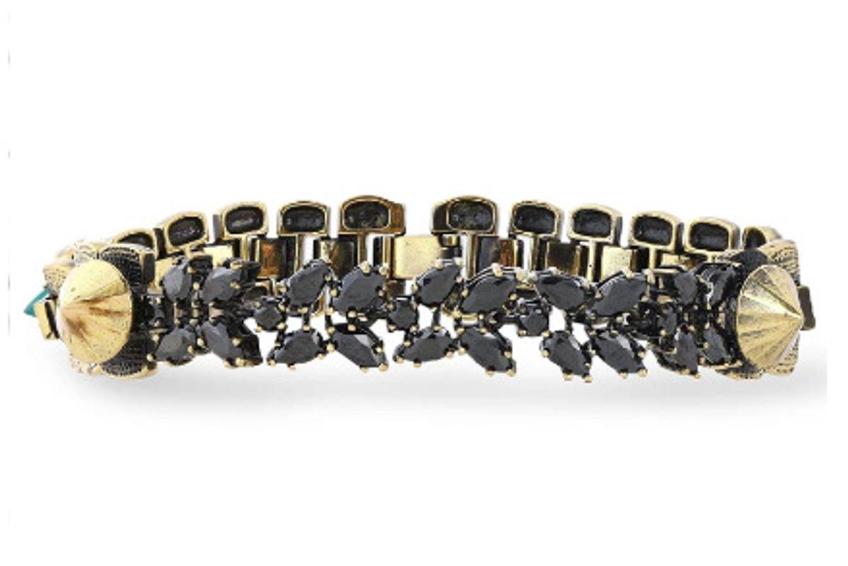 iosselliani burnished gold tone agate and crystal bracelet