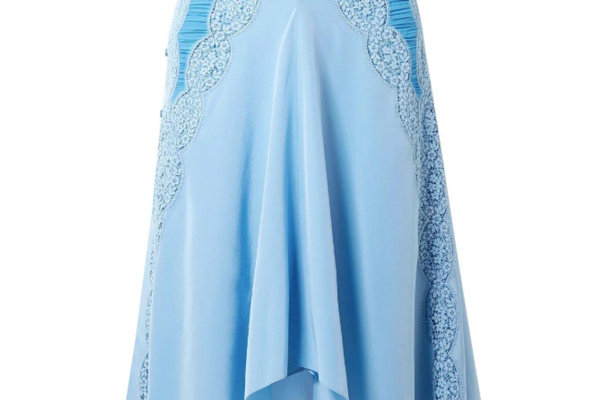 chloe button embellished ruched crochet paneled silk crepe de chine skirt