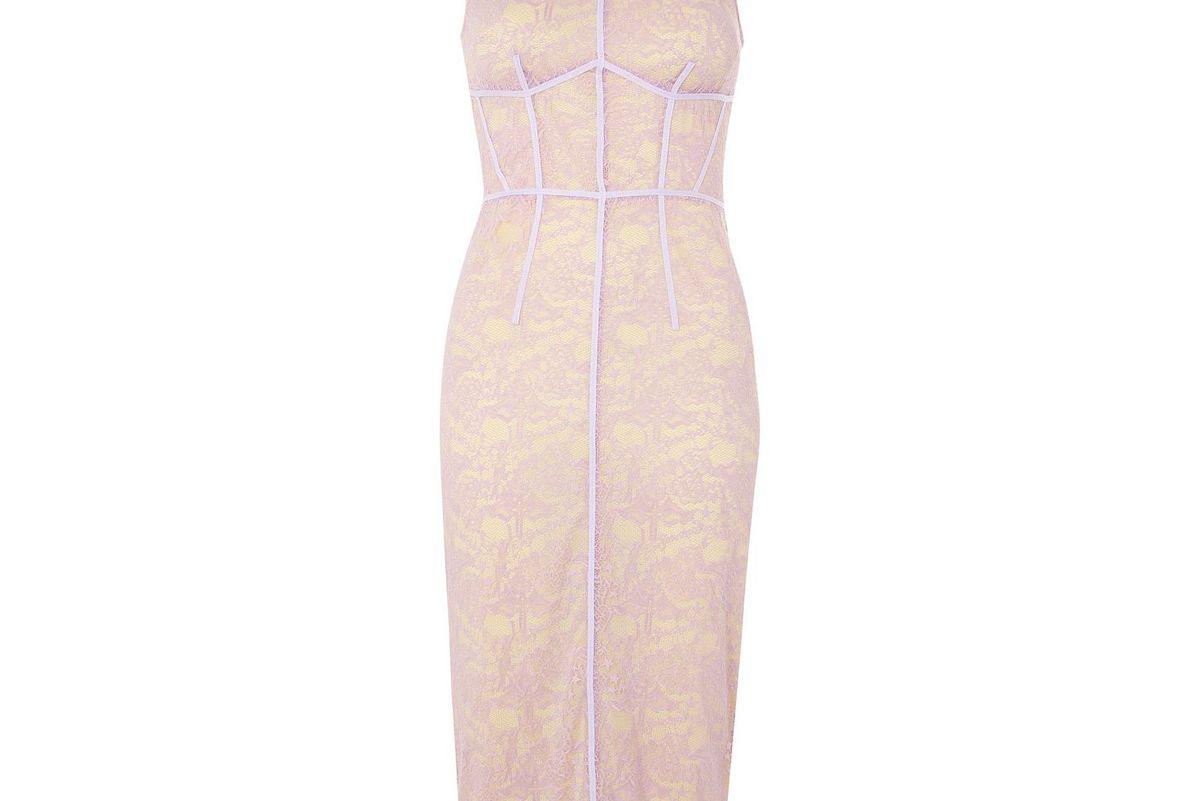 Corset Lace Midi Shift Dress