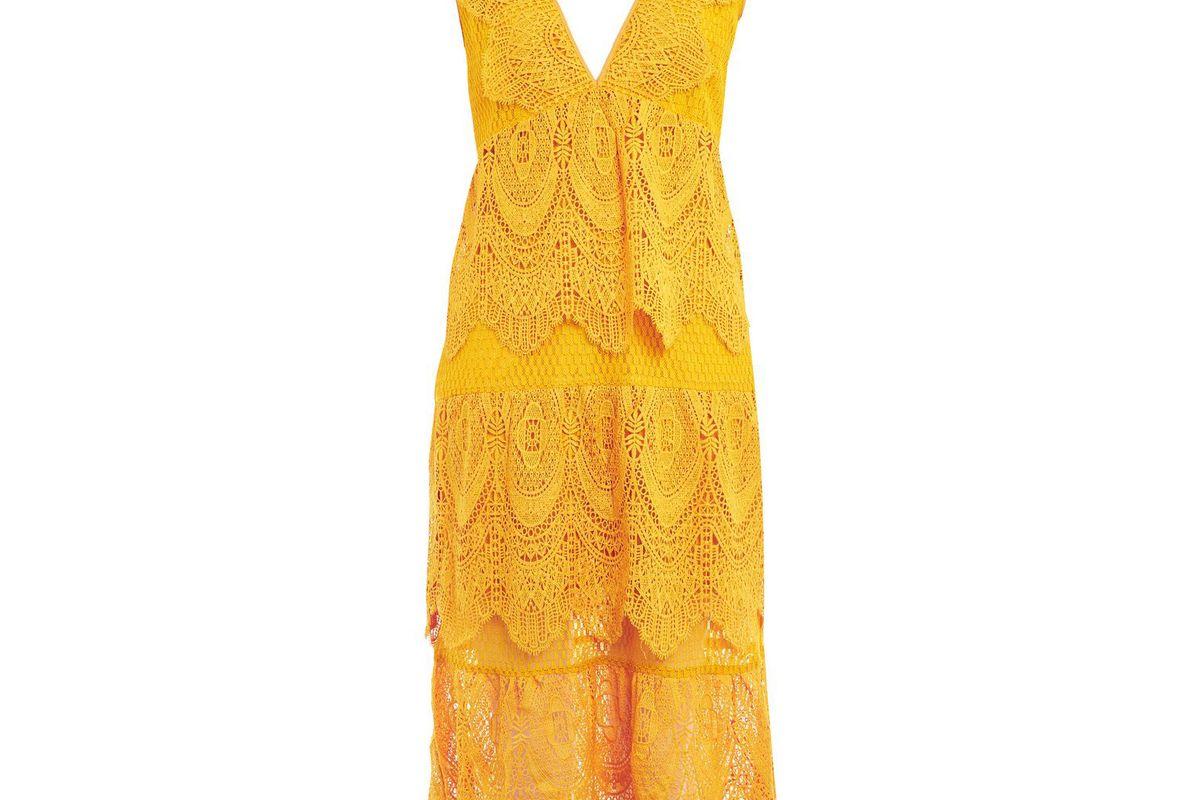 Petite Layered Lace Midi Dress
