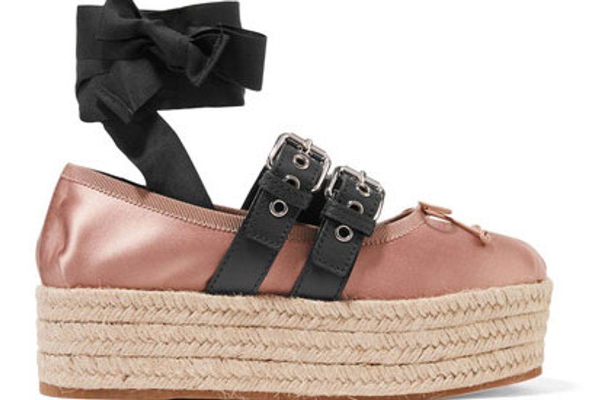 Leather-trimmed satin platform espadrilles