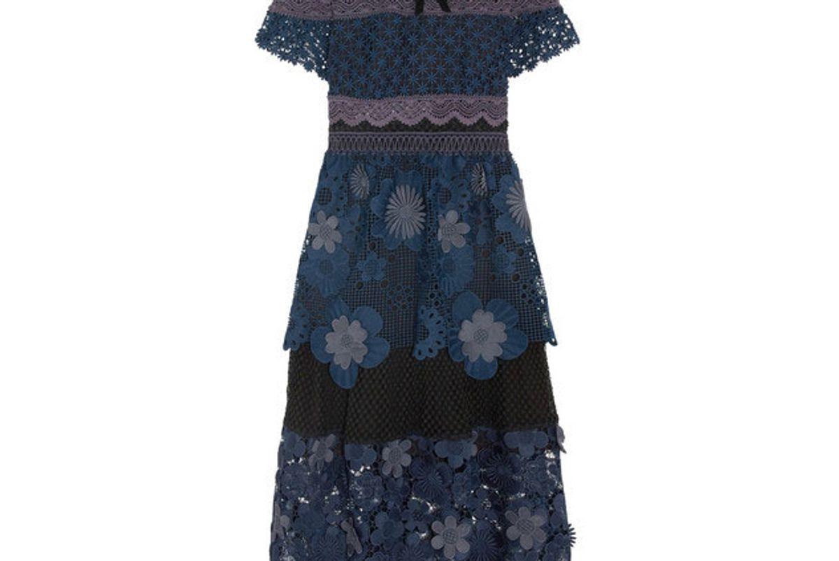 Velvet-trimmed panneled guipure lace midi dress