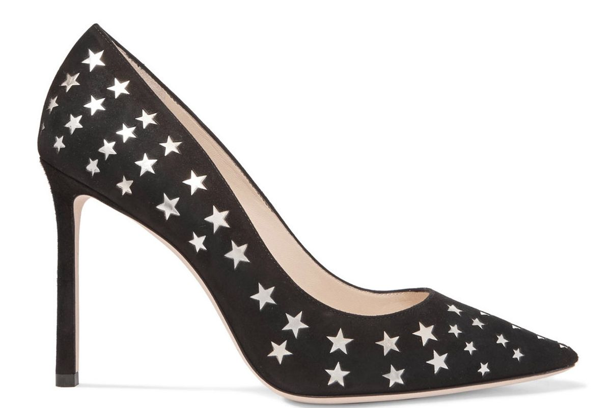 Romy 100 laser-cut suede and metallic leather pumps