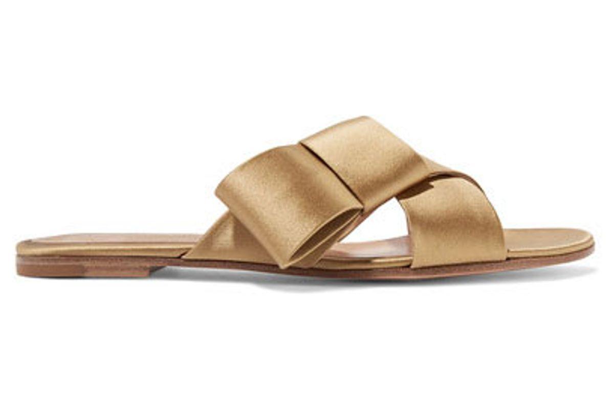 Obi bow-embellished satin slides