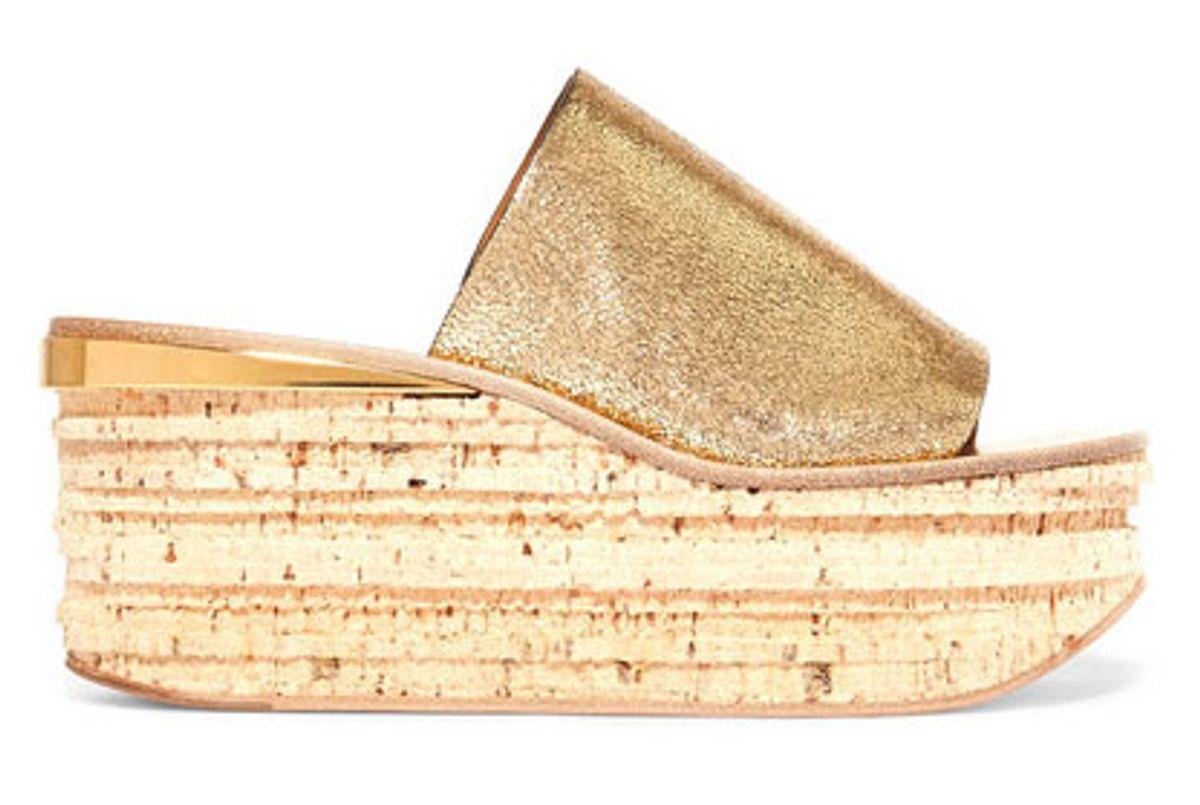 Camille metallic cracked-leather platform sandals
