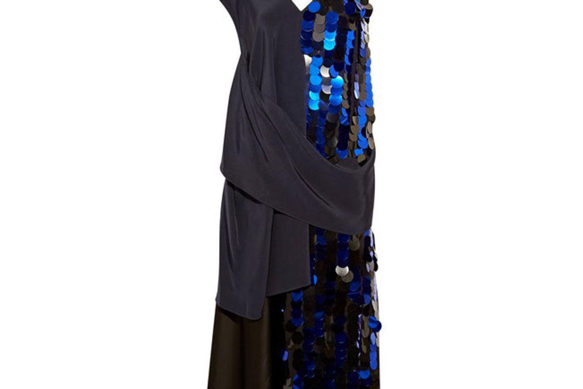 Embellished crepe and silk-satin midi dress