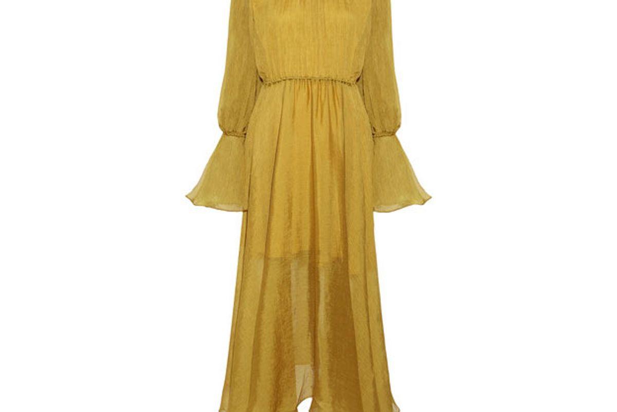 Medea ruffle-trimmed plissé-chiffon midi dress