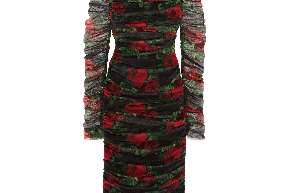 Ruched floral-print cotton-tulle midi dress