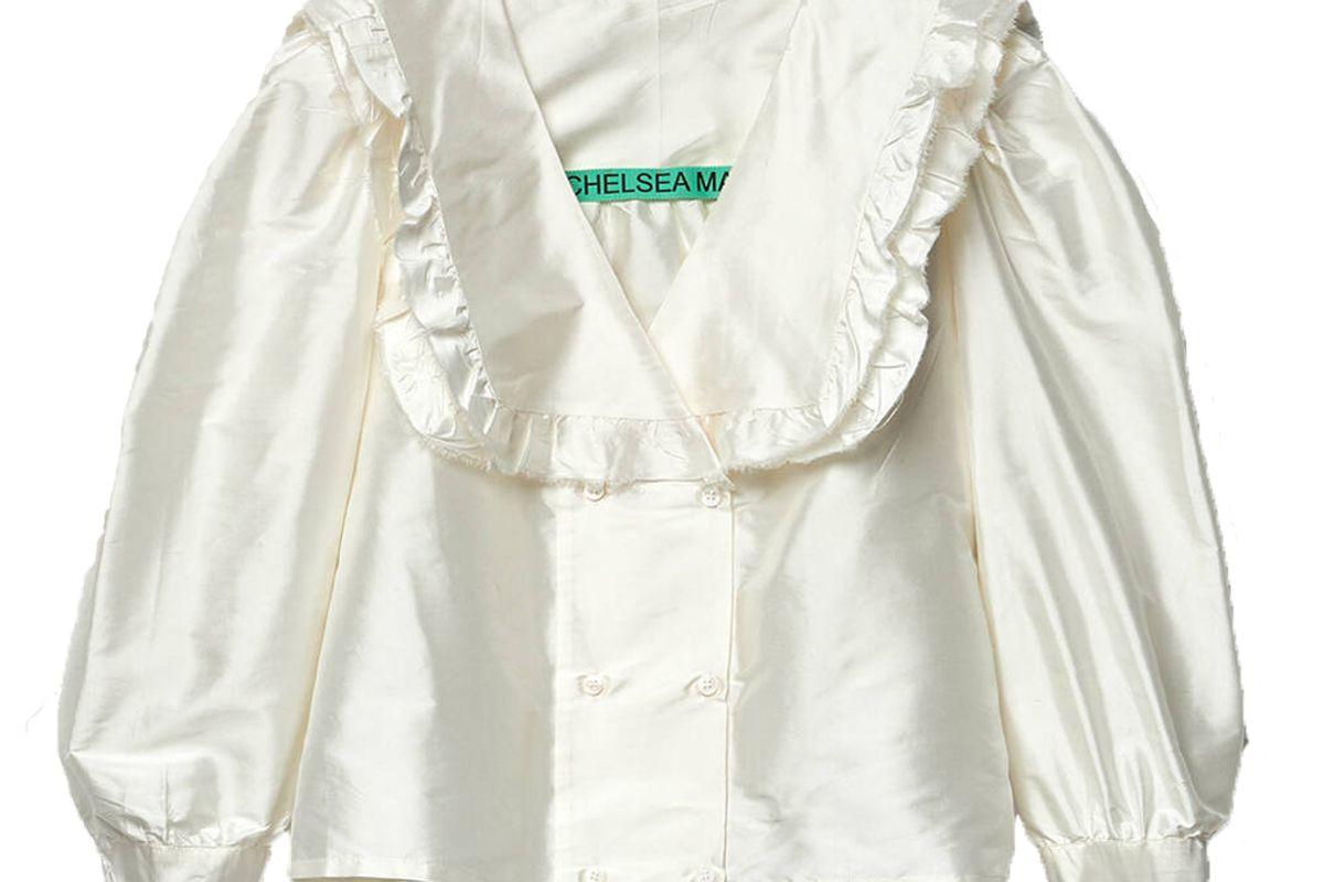 chelsea mak vienna frill thai silk shirt in white