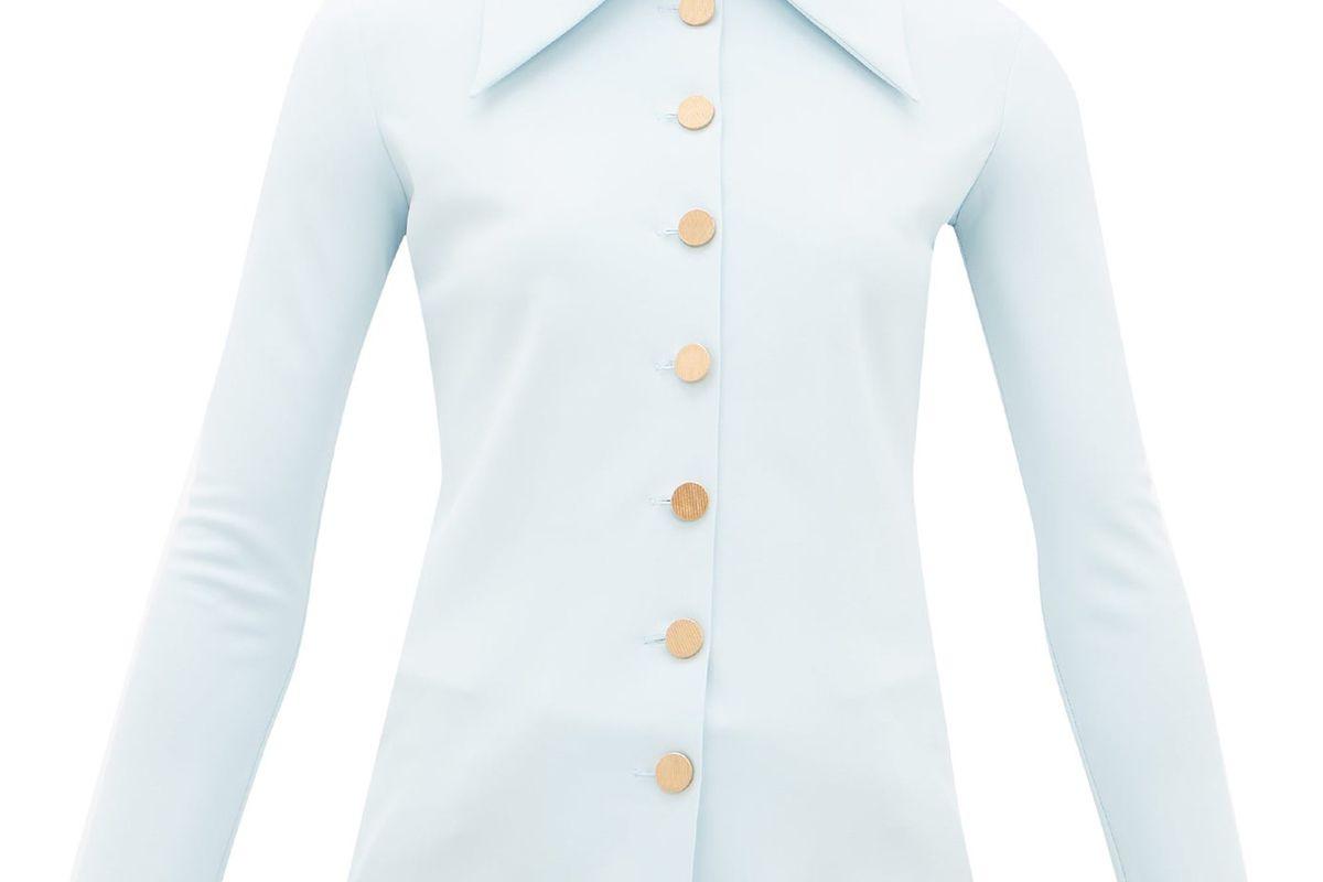 awake mode point collar crepe shirt