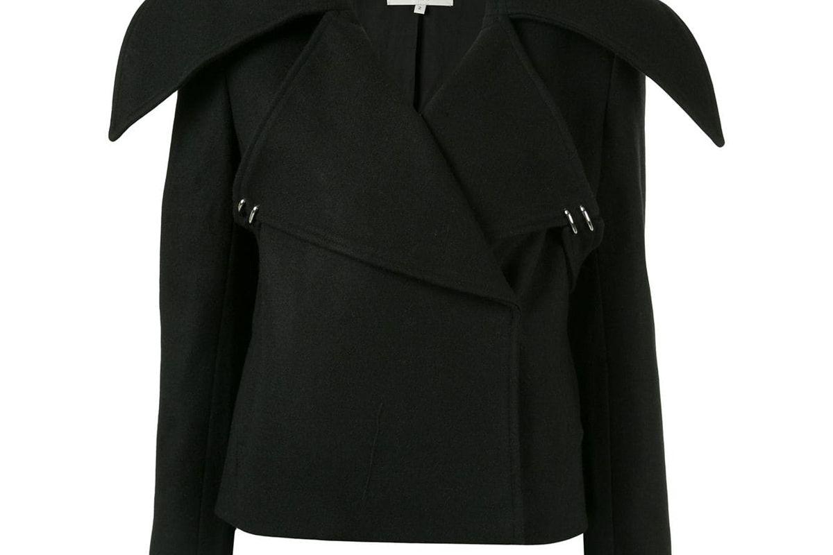 tibi cropped oversized collar jacket
