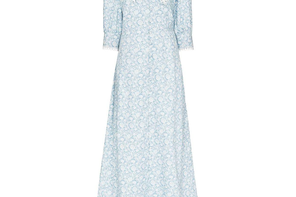 masterpeace oversized collar floral print maxi dress