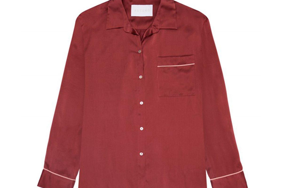 Ochre Rose Edged Silk Pyjama Top