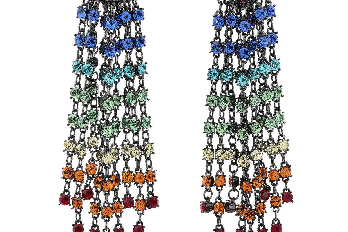 oscar de la renta gunmetal tone crystal clip earrings