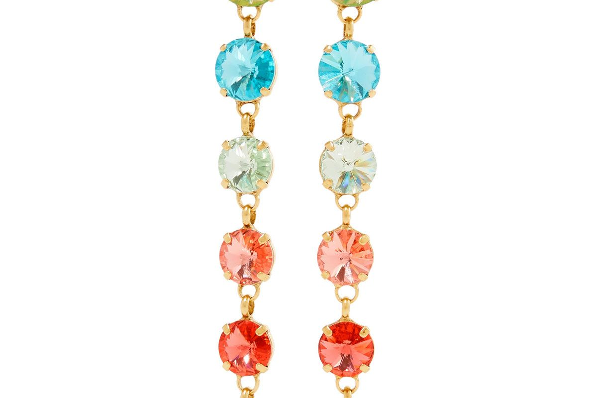 roxanne assoulin technicolor gold tone swarovski crystal earrings