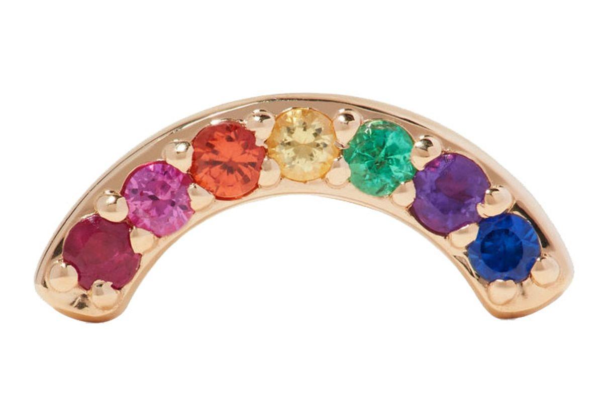 andrea fohrman single row rainbow 14 karat gold multi stone earrings