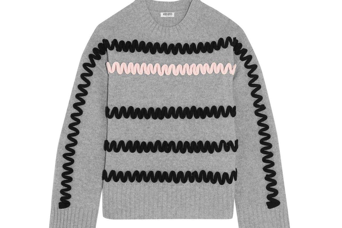 Appliquéd wool sweater