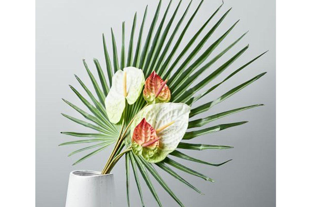 metaflora faux fan palm and anthurium bouquet