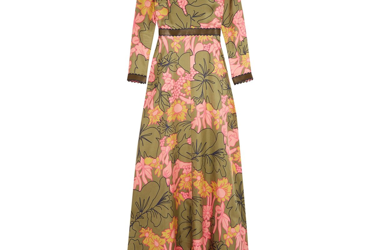 Kamanev Leather-Trimmed Floral-Print Silk-Twill Gown