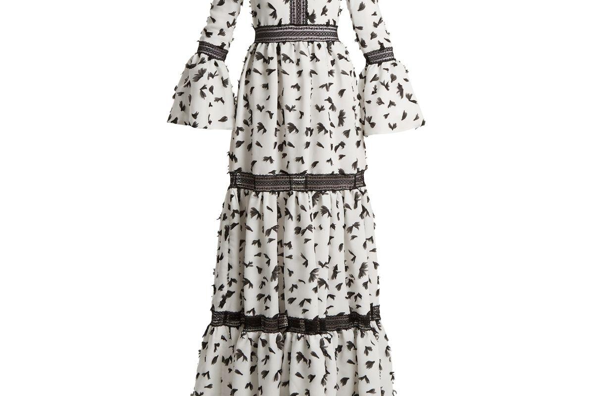 Pouget Petal-Appliqué Twill Dress