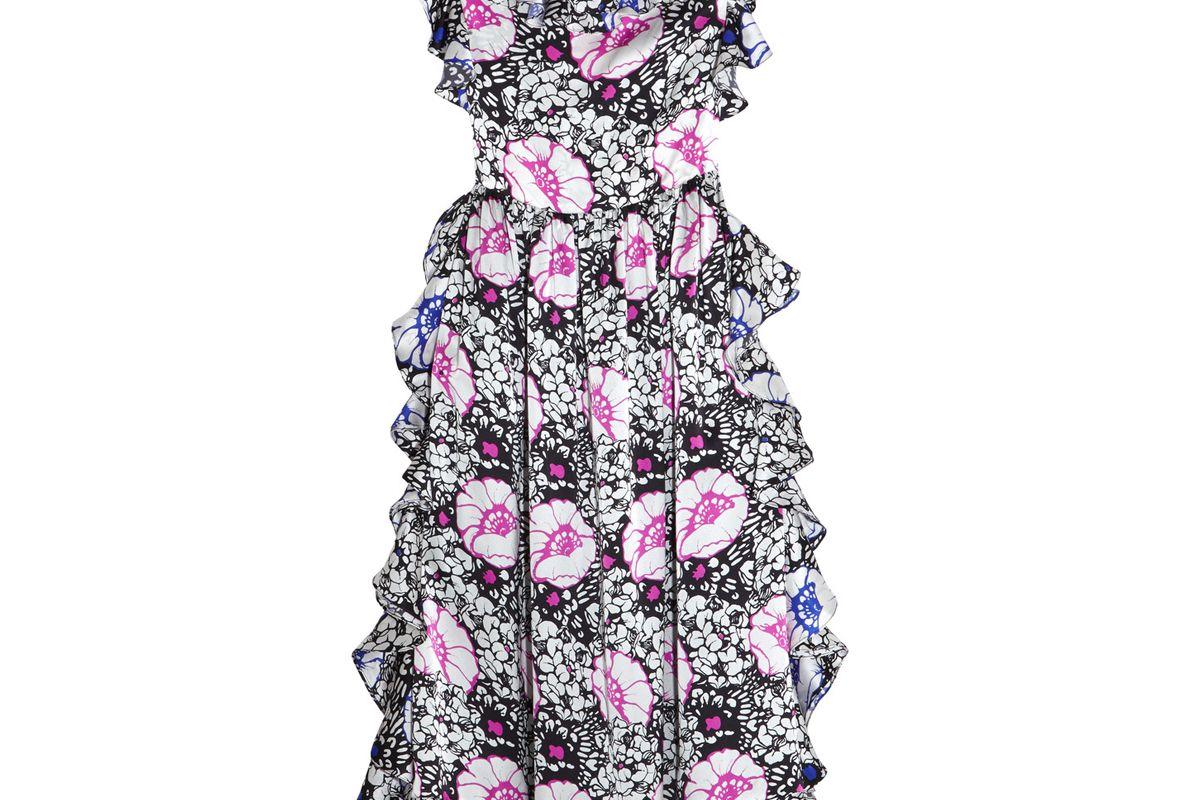 Ruffled Printed Silk-Satin Midi Dress